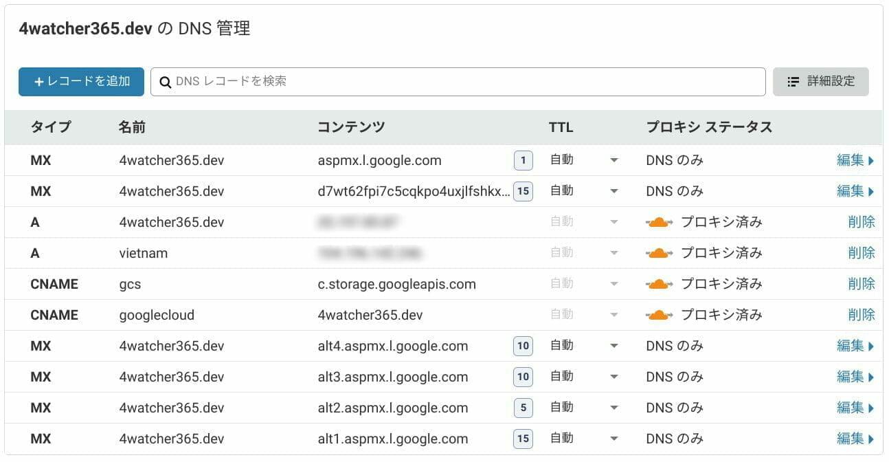 Cloudflare:MX レコードの設定
