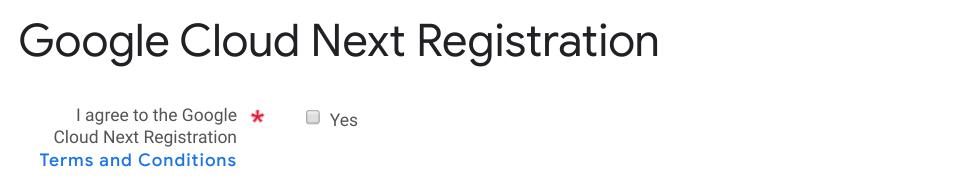 Google Cloud Next Registration:利用規約に関する項目