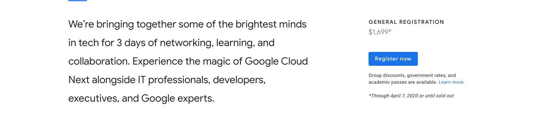 Google Cloud Next Registration:登録ボタン