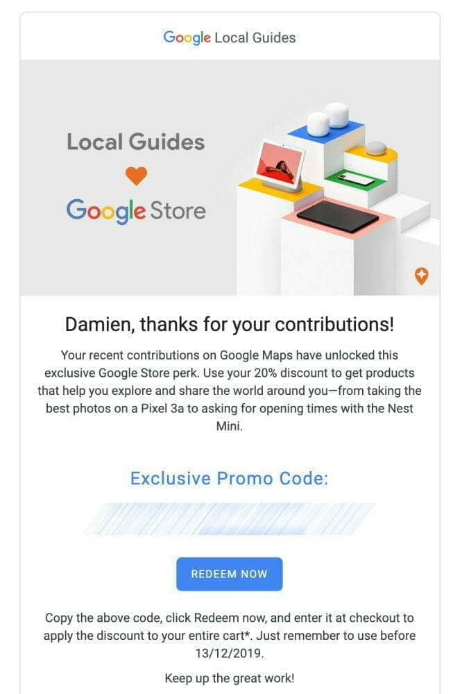 Google Local Guides Contributions Mail