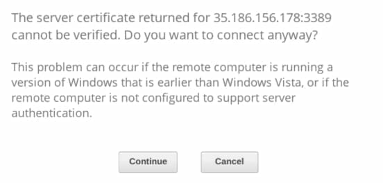 Chrome RDP:VM インスタンスへの接続