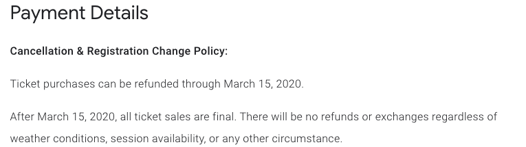 Google Cloud Next Registration:キャンセルおよび登録変更ポリシー 関する項目