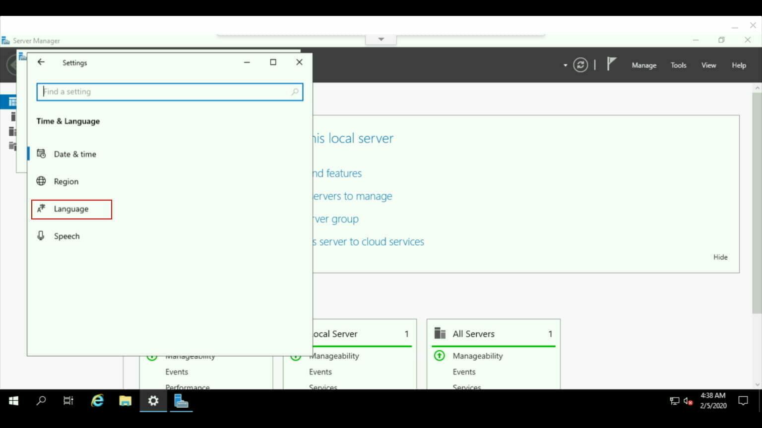 Windows コントロールパネル:Language を選択。