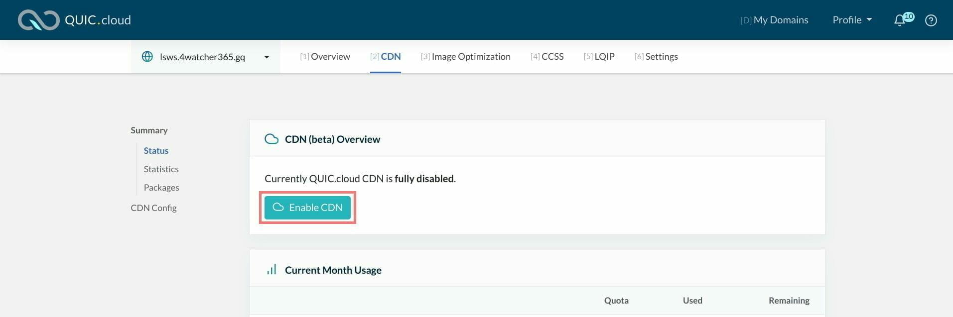 QUIC.cloud:CDN を有効