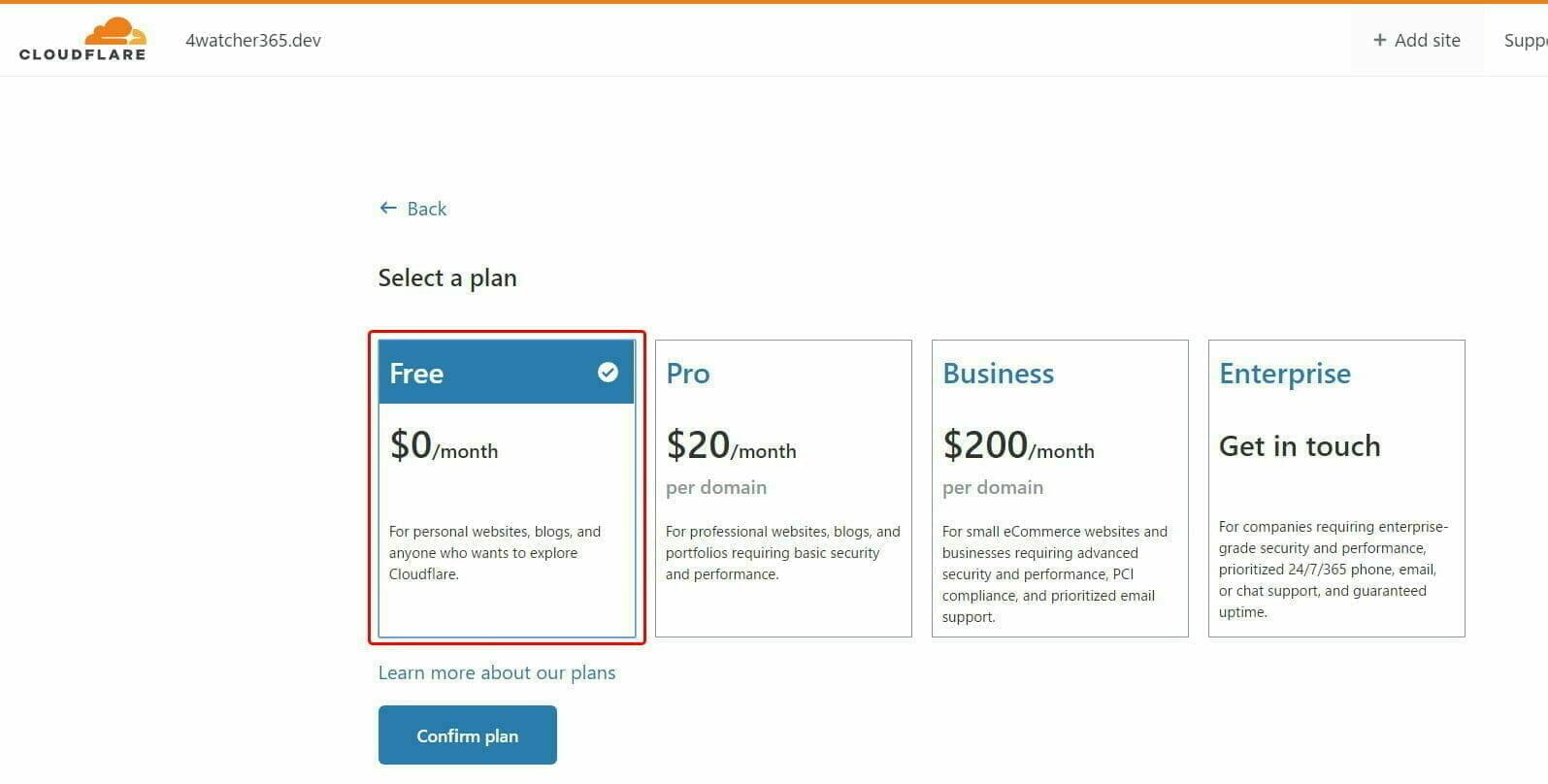 Cloudflare 設定:プラン の選択