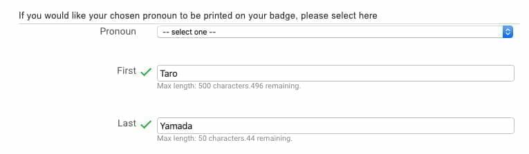 Google Cloud Next Registration:バッジに記載される名前に関する項目