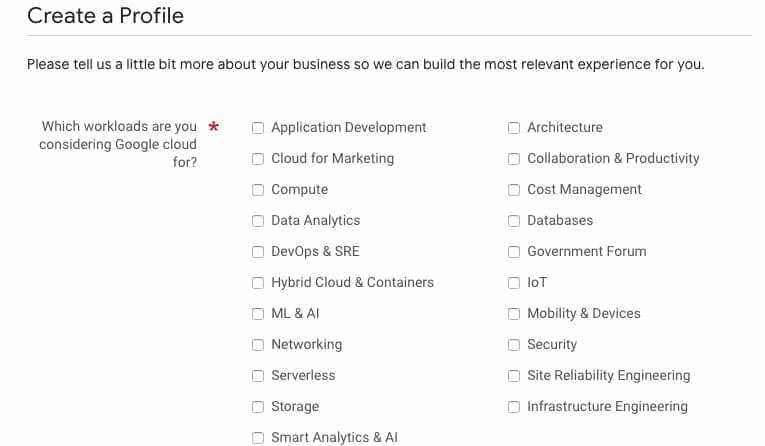 Google Cloud Next Registration:希望するGoogle Cloud  ソリューションに関する項目