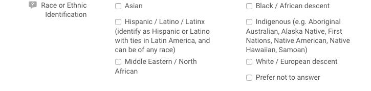 Google Cloud Next Registration:人種および民族に関する項目