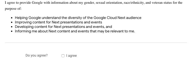 Google Cloud Next Registration:性別、人種/民族、性的嗜好 などの 情報提供に関する項目