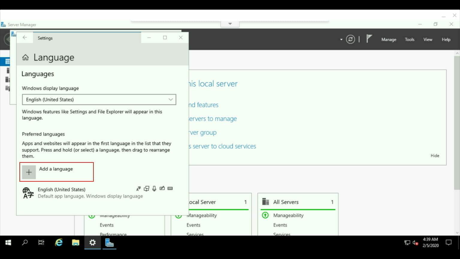 Windows コントロールパネル:日本語 言語をインストール。