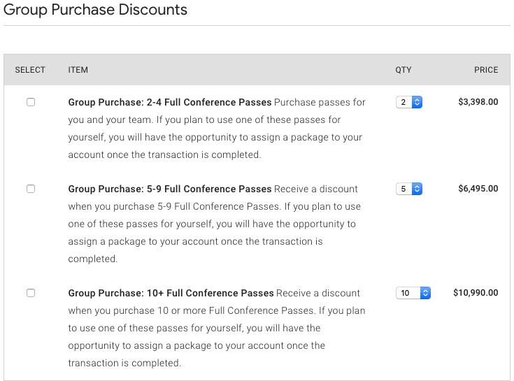 Google Cloud Next Registration:グループ割引 チケットの項目