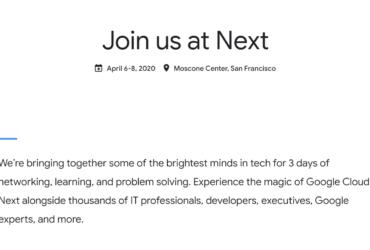 Join us at Google Cloud Next '20 in San Francisco