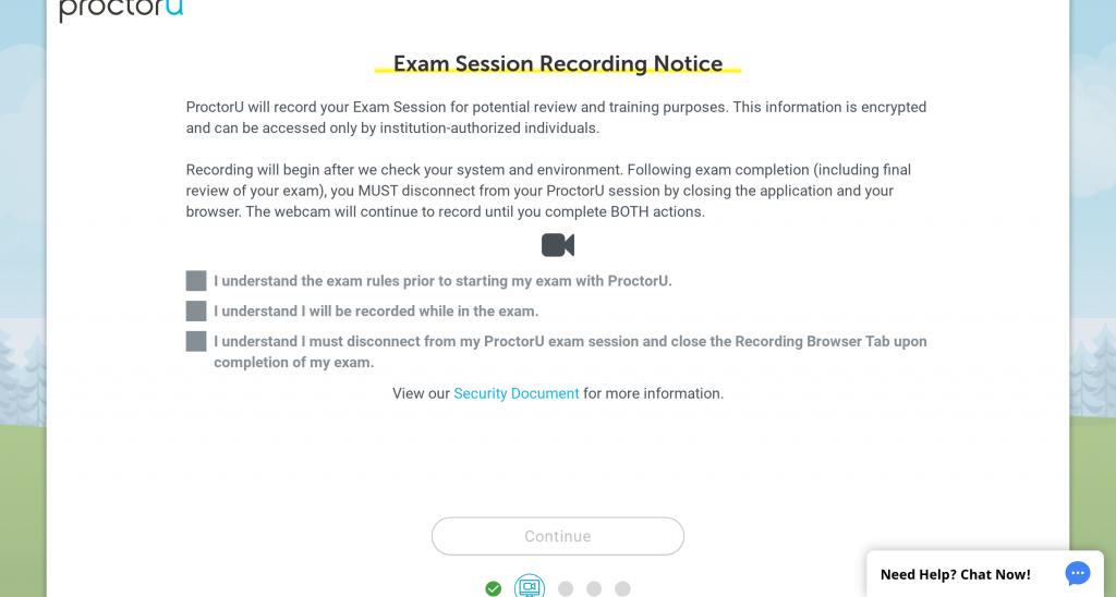 Proctor U: Exam Session Recording Notice