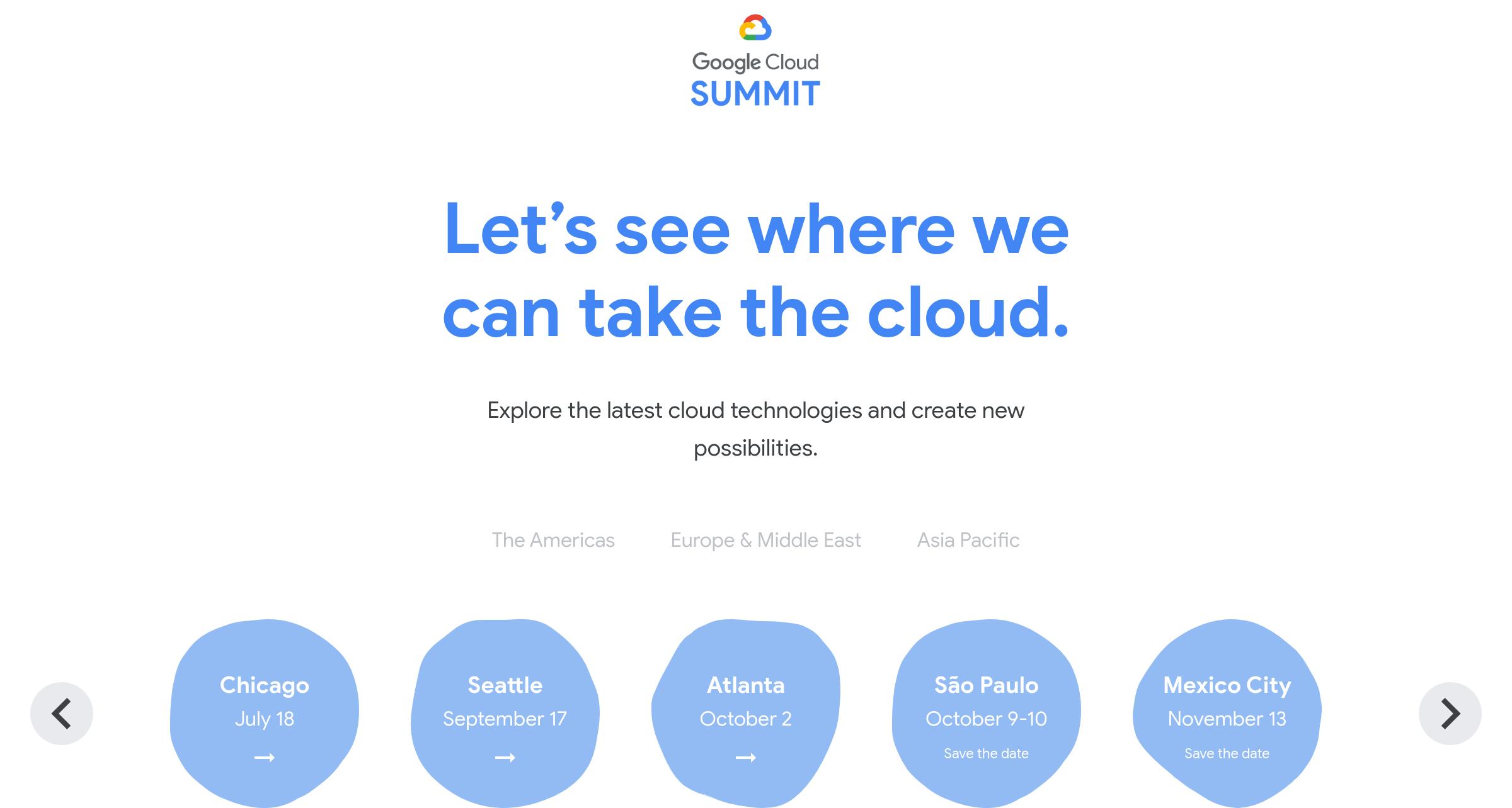 Google Cloud Summit 2019 グローバルサイト