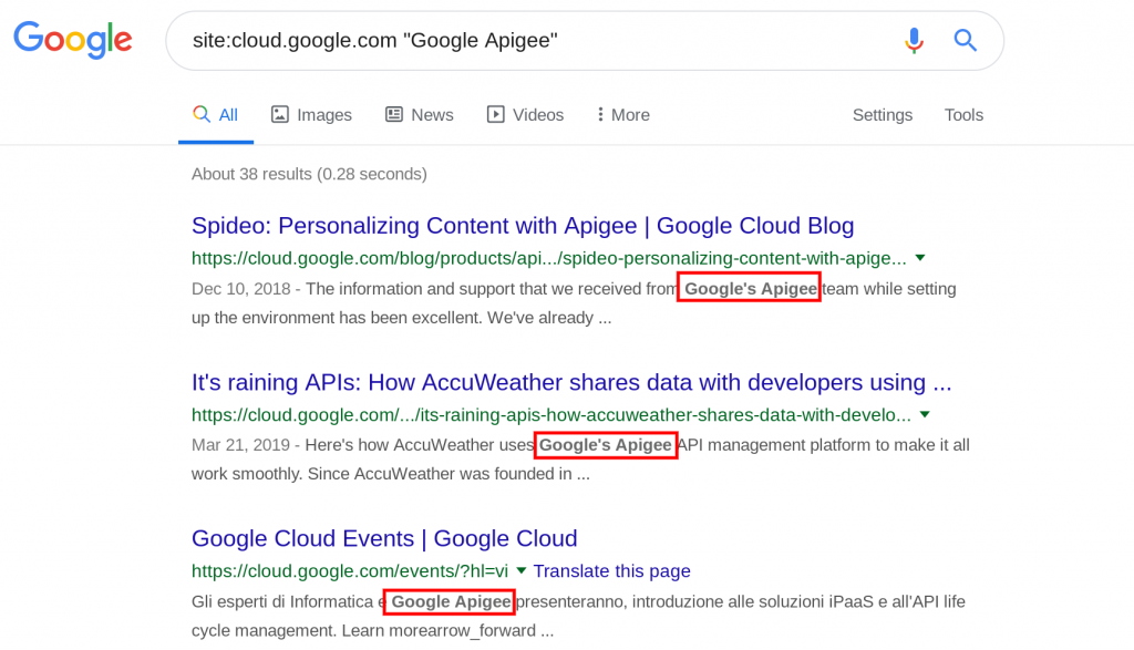 Google Apigee の検索結果画面
