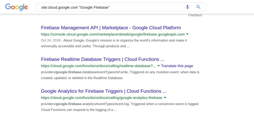 Google Firebase の検索結果画面
