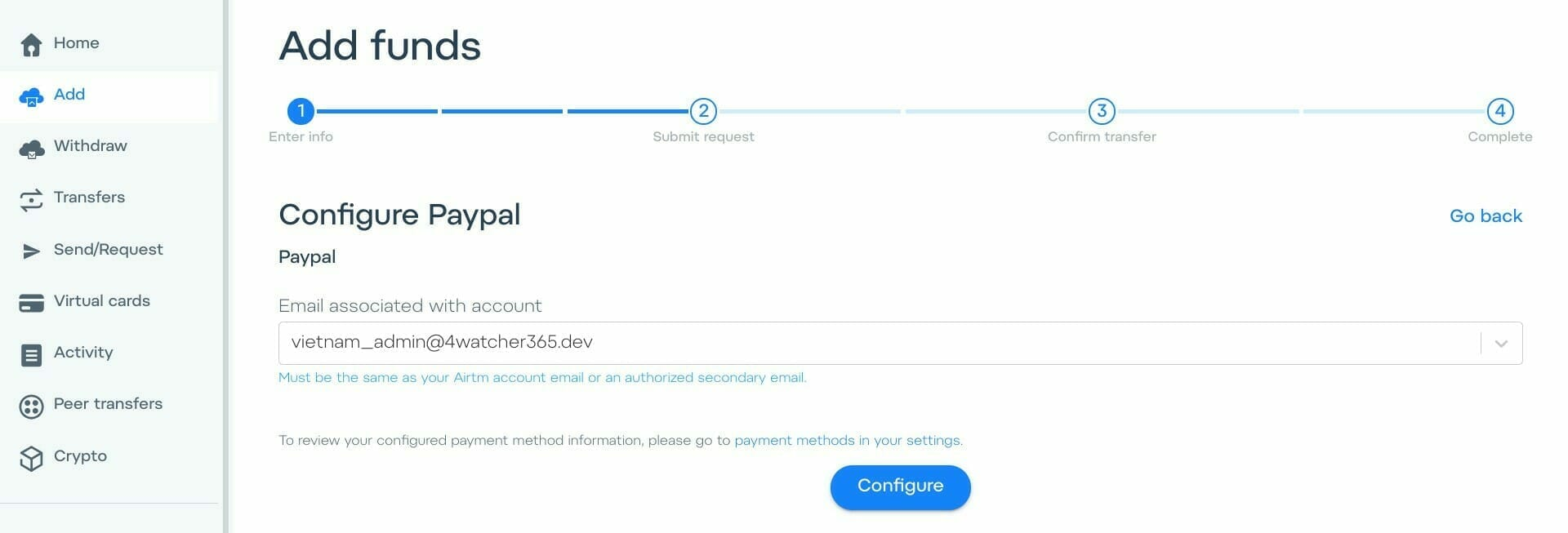 AirTM:PayPal アカウントに紐付いているメールアドレスを指定する