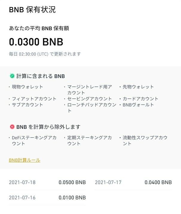 バイナンス:BNB 保有状況