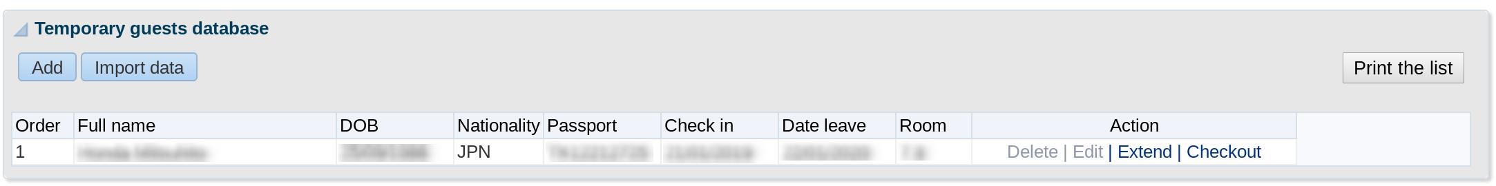 Foreigner Residential Registration Database:Temporary Guests Database